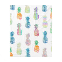 big colorful pineapples pattern fleece blanket