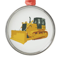 Big Construction Bulldozer on Tracks Metal Ornament
