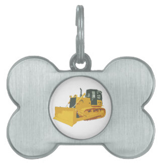 Big Construction Bulldozer on Tracks Pet Name Tag