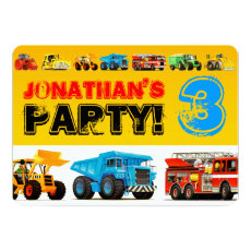 Big Construction Truck 3rd Boy's Birthday Party Card