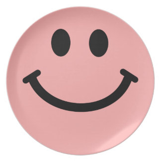 Big Coral / Pink Smiley Face Plate
