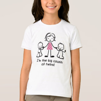 Big Cousin of Twins Stick figures girl t-shirts