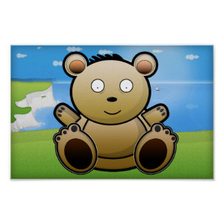 Big Cuddly Bear at the sea side Poster