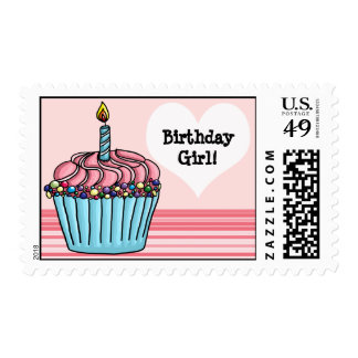 Big cupcake with candle and sprinkles Birthday Postage