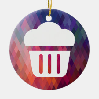 Big Cupcakes Pictograph Double-Sided Ceramic Round Christmas Ornament