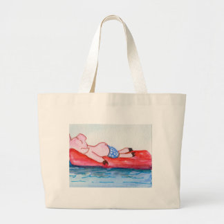 Big Daddy Pig Floating on Raft at Beach Large Tote Bag