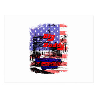 big daddy red blue affected design postcard