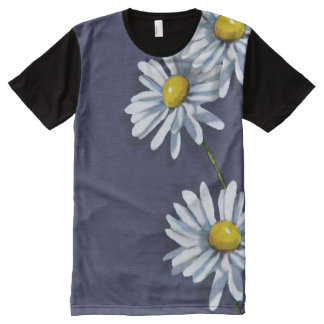 Big Daisy Flowers on Blue All-Over Print Shirt