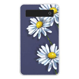 Big Daisy Flowers on Blue, Original Art Power Bank
