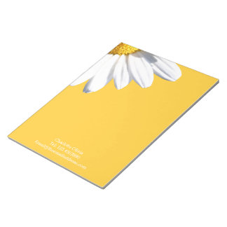Big Daisy On Yellow Background Personalized Scratch Pad