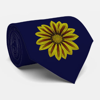 big daisy type flower with red stripes design tie