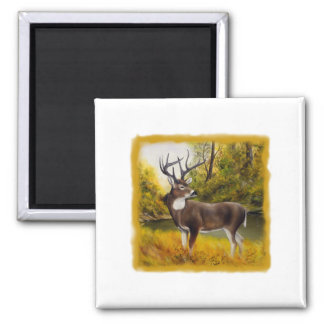 Big Deer standing in grove on customizable product 2 Inch Square Magnet