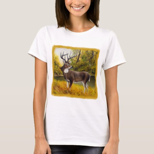 Big Deer standing in grove on customizable product T-Shirt