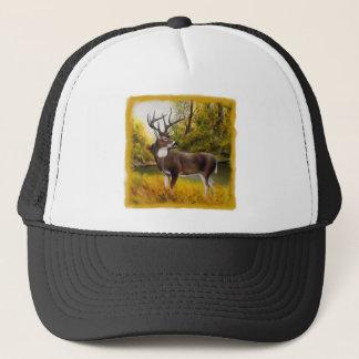 Big Deer standing in grove on customizable product Trucker Hat