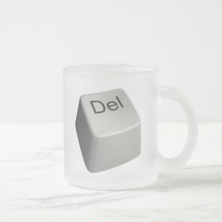 Big delete key frosted glass coffee mug