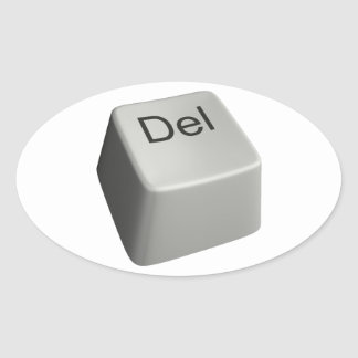 Big delete key oval sticker