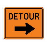 Big Detour Right Street Sign Postcard