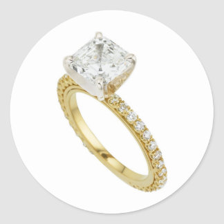 Big Diamond Engagement Ring Hint Hint Classic Round Sticker