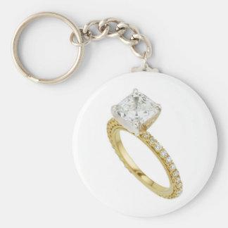 Big Diamond Engagement Ring Hint Hint Basic Round Button Keychain