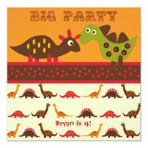 Big Dino Rock Party Dinosaur Birthday Invitations