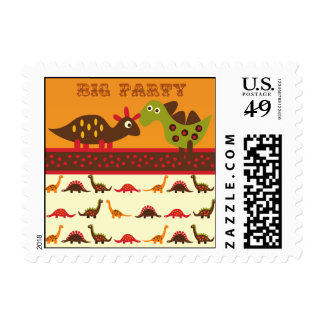 Big Dino Rock Party Dinosaur Postage Stamps