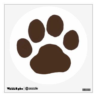 Big Dog Paw Print - Brown on White Wall Decal