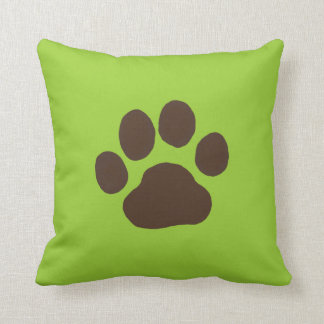 Big Dog Paw Print with Custom Background Color Throw Pillow