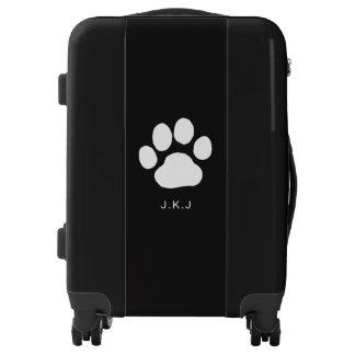 Big Dog Paw Print with Custom Text Luggage