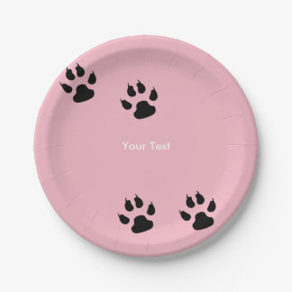 Big Dog Paw Prints on Pink Paper Plate