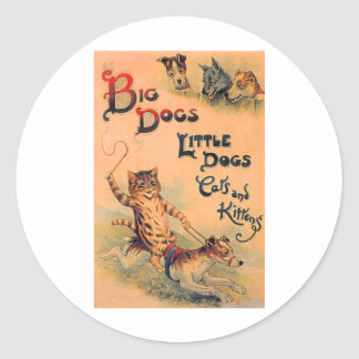 Big Dogs Little Dogs Classic Round Sticker