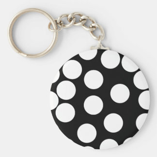 Big Dots in Black and White. Basic Round Button Keychain