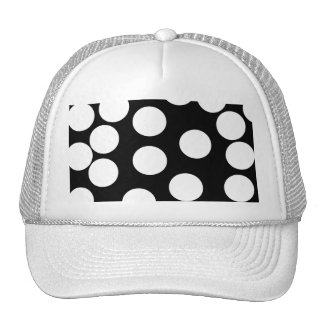Big Dots in Black and White. Mesh Hats