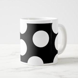 Big Dots in Black and White. 20 Oz Large Ceramic Coffee Mug
