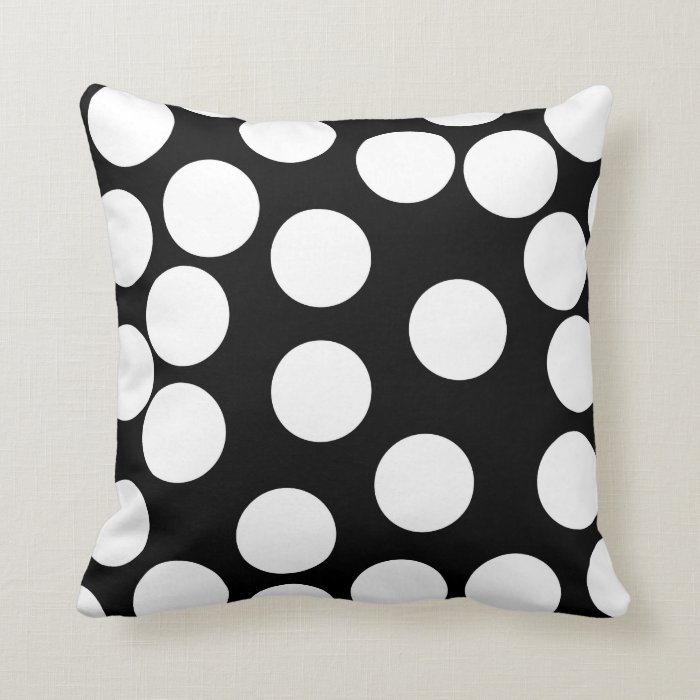 Big Dots in Black and White. Throw Pillow Zazzle