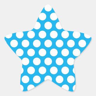 Big Dots on Blue Design Star Sticker