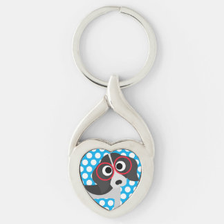 Big Dots on Blue Dog Key Chain