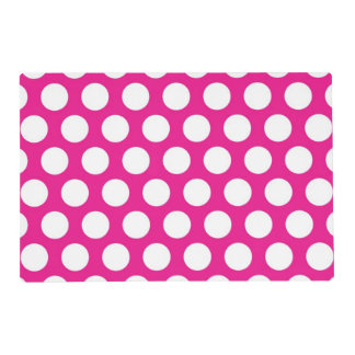 Big Dots on Hot Pink Design Placemat