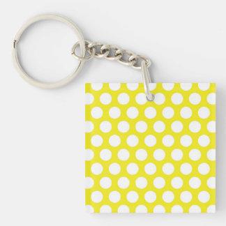 Big Dots on Yellow Design Single-Sided Square Acrylic Keychain
