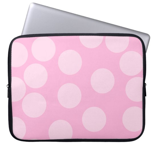 Big Dots Pattern. Pale Pink and Candy Pink. Computer Sleeve