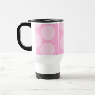 Big Dots Pattern. Pale Pink and Candy Pink. 15 Oz Stainless Steel Travel Mug