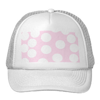 Big Dots Pattern. Pale Pink and White. Hat