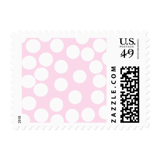 Big Dots Pattern. Pale Pink and White. Postage Stamps