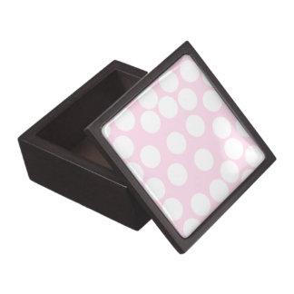 Big Dots Pattern. Pale Pink and White. Premium Keepsake Box