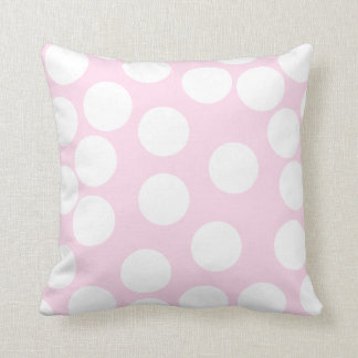 Big Dots Pattern. Pale Pink and White. Throw Pillow