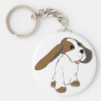 Big Eared Basset Dog Keychain