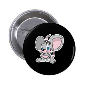 big eared cute grey mouse 2 inch round button