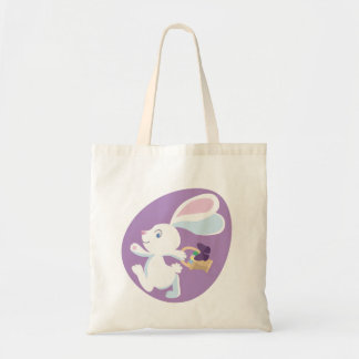 Big-Eared Easter Bunny in Purple Egg Tote Bag