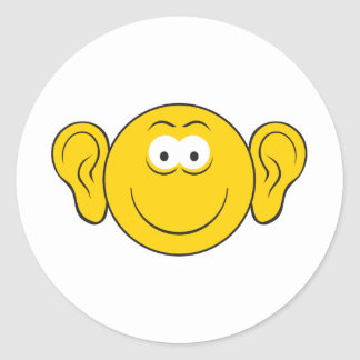 Big Ears Smiley Face Classic Round Sticker