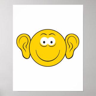 Big Ears Smiley Face Print