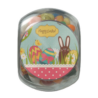 Big Easter set with cute chocolate rabbit Glass Candy Jars